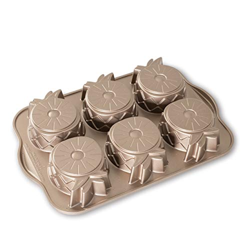 Nordic Ware Pineapple Upside Down Cast Aluminum Cakelet, 5 Cup Capacity, Toffee