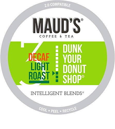 Maud's Decaf Donut Shop Coffee, (Dunk Your Donut Shop), 100ct. Recyclable Single Serve Coffee Pods - Richly satisfying arabica beans California Roasted, k-cup compatible including 2.0