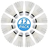 PHYOPUS Badminton Birdie, 12 Pack Duck Feather Badminton Shuttlecocks with Great Stability & Durability, High Speed Sports Training Badminton Balls for Indoor Outdoor Game (Milky White)