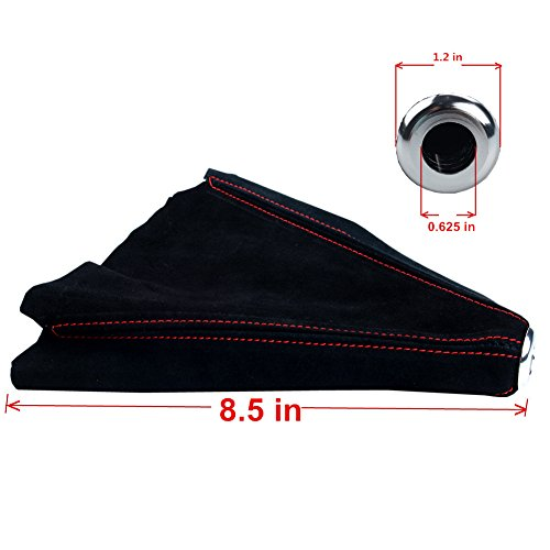 Dewhel Jdm Universal Suede Manual Shift Boot Black W/Red Stitching for Honda Acura