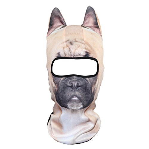 WTACTFUL 3D Animal Ears Balaclava Windproof Face Mask Cover Protection for Music Festivals Raves Halloween Party Riding Skiing Snowboarding Snowmobile Activities French Bulldog Pug Dog MEB-26