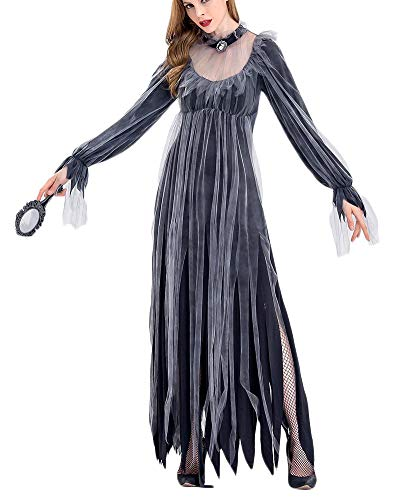 Yonglan Donna Vampiro Sposa Fantasma Costume da Strega di Halloween Nero L