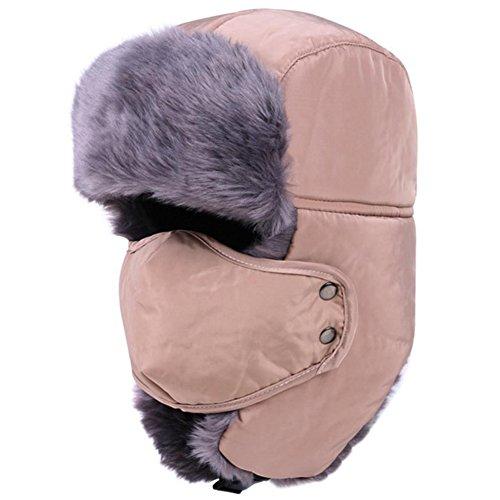 Kentop Chapeau Chapka Ear FlapTrappeur Bomber Casquettes Bonnets Chapeaux Chaud Hiver Patinage Ski Vélo Plein air Homme Femme Adulte épaissi Vent Neige Coton (Kaki)