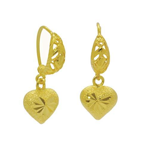 Pendientes de aro chapados en oro amarillo de 22 quilates de 24 quilates con filigrana y forma de corazón, 25 mm