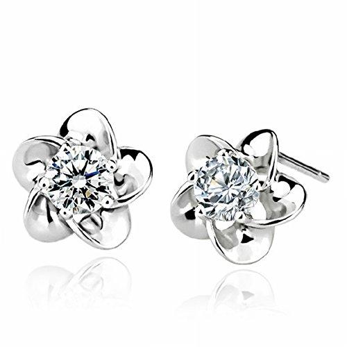 Verzilverde juwelen Koreaans-Style Plum Blossom Oorbellen Pruim Oorbellen Platina Oorbellen Paars Diamant/Paar Oor met Plug (Wit Goud verguld Platina)