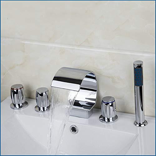 ZHXIFE Grifo de la bañera Mezclador de bañera Bañera de Cromo Grifo de baño Juego de 5 Piezas Montado en Cubierta 3 manijas Grifos Grifos de Cascada Mezcladores y Amplificador; Grifo