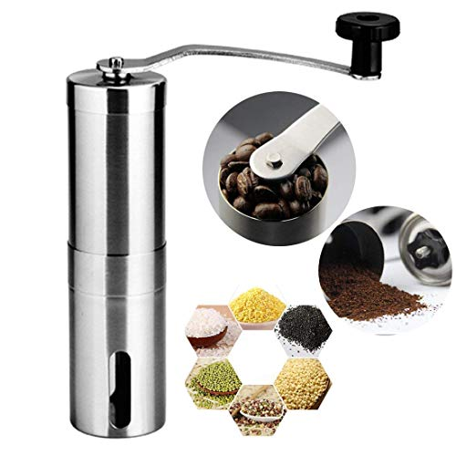 Manual Coffee Grinder, Conical Burr Mill, Mirror Brushed Stainless Steel For all kind of Cold Brew, French Press, Percolator, AeroPress, Turkish, Espresso, Keurig K Cup, Herb, or Spice grind.