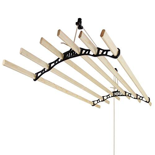 Takhängd Tvättställning - Svart - 1,5 m   Torkställning Torkhiss Takmonterad Hängande Traditionell