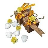 General Brand Set scatoline Cartone segnaposto portaconfetti 24pz con Biglietto, fiorellino e Nastro Decorativo per Matrimoni, Battesimi cresime e Qualsiasi Tipo di Evento o Festa