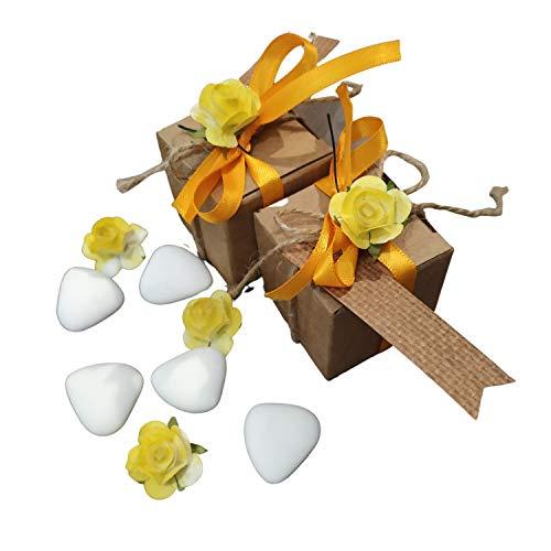 General Brand Juego de 24 cajas de cartón para señalar el sitio con tarjeta, flor y cinta decorativa para bodas, bautizos, confirmaciones y cualquier tipo de evento o fiesta.