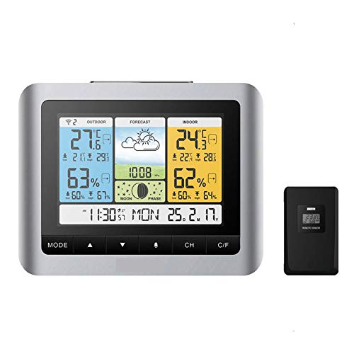 LED Color scherm digitale weerstation met Remote Sensor, luchtdruk/Moon Phase/Kalender/Alarm, binnen- en buitentemperatuur hygrometer