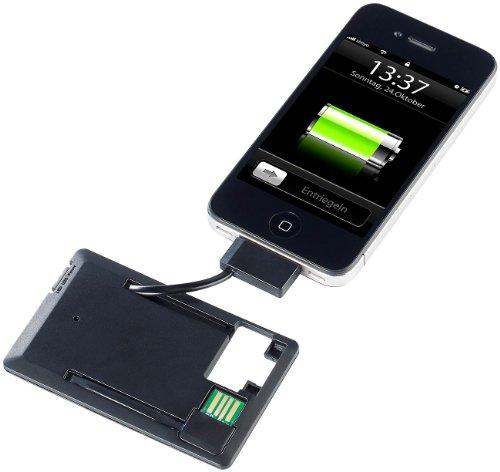 PEARL iOS-Powerbank: Notfall-Powerbank im Kreditkartenformat für iPhone 3G/3GS/4/4s (tragbare Powerbanks)