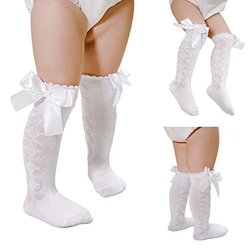 Toddler - Calcetines a la rodilla de algodón de trenzas, antideslizantes, de encaje, para recién nacidos, mallas largas y transpirables, braga de cuello de malla, Color blanco., 1.5-3 años