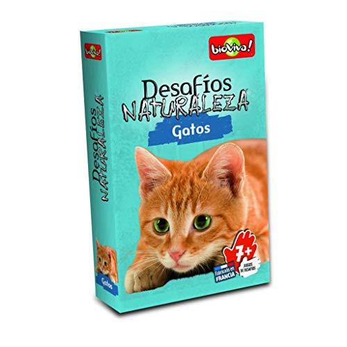 Bioviva- Juego de Cartas Desafíos Naturaleza Gatos, Multicolor (Asmodee DES13ES)