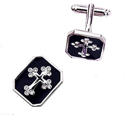 Gudeke Diamant Croix noire mâle boutons de manchette de chemise française