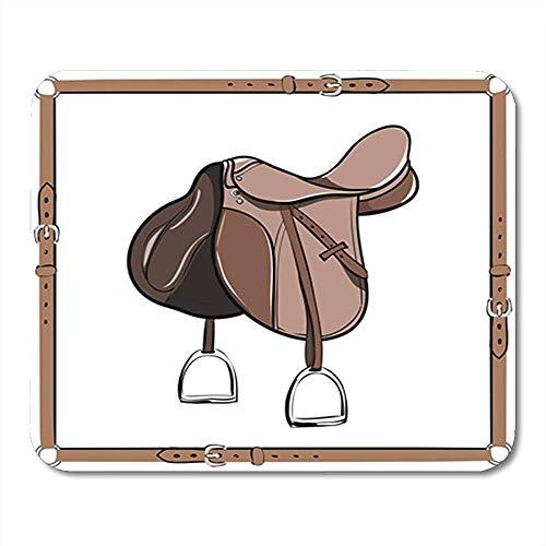 Mousepad Engels Bruin Zadel In Riem Paardengordel stijgbeugel Paard Rijden Nonslip Decor Office Gaming Mouse Pad Rubber Backing Mousepad Mouse Mat 25X30Cm