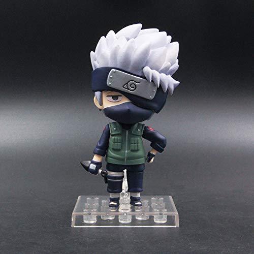 SFRIDQ Naruto Anime Q versión Bandera Madera Kakashi versión Estatua muñeca Modelo muñeca Escultura Juguete decoración Altura 10 cm