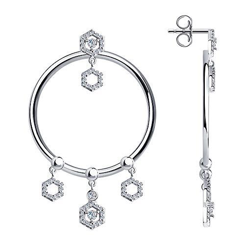 SOKOLOV Jewelry oorbellen zilver 925 dames oorbellen met zirkonia 5,2 cm I Edele oorbellen cirkel Ø 3,3 cm met hanger zeshoekig I Exclusief designer merk sieraden dames sieraden zilveren oorbellen
