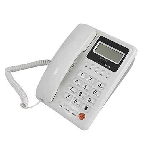 Teléfono Fijo con Cable de Escritorio para Hogares, Teléfono con Pantalla de Visualización de la Fecha y Semana en Tiempo Real, Función de Rellamadas, Adecuado para Hogares, Oficinas y Hoteles