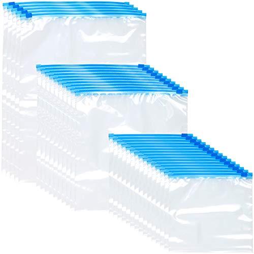 Rosenstein & Söhne Gefrierbeutel: 30 Zip-Verschluss Gefrier-Beutel, 1/3/6 Liter, 68 µm (Gefrierbeutel Zipper)