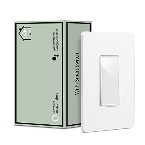Smart Switch by Martin Jerry, Works with Alexa, Smart Home Devices Works with Google Home, 2.4G Wifi, No Hub, Single Pole Light Switch, Need Neutral Wire