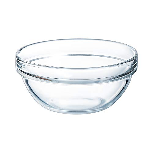 Arcoroc 10000 Saladier Empilable 38,5 cl en verre trempé, 12 cm - Lot de 6