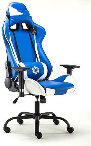 DBL Gaming Chair, silla ergonómica Silla de oficina barato con soporte lumbar Voltear las armas reposacabezas de cuero PU Silla ejecutiva de respaldo alto ordenador for Adultos Hombres Mujeres