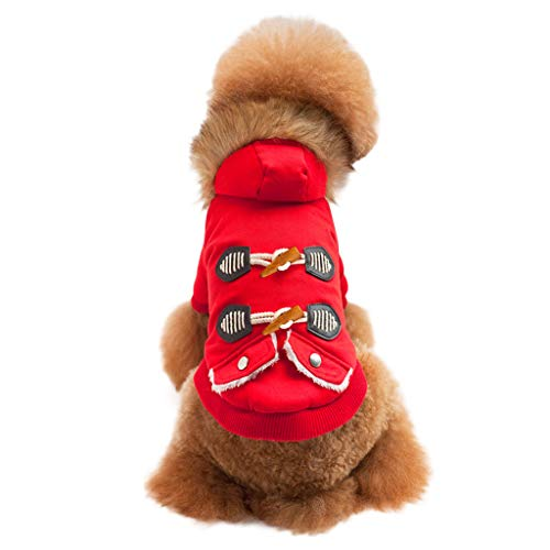 Amphia - Pet Kleidung - Haustier-Hundewelpen-warme Winter-Kleidung Mode-Baumwolljacke-Mantel-Zwei-Bein-Kleidung(Rot,L)