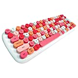 Bluetooth Keyboard, Portable Colorful Cute Wireless Keyboard Typewriter Style Retro Round Keycaps with Number Pad for Mac, iOS, Android, Windows, PC, iPhone, Samsung Tablet (Lipstick Pink)