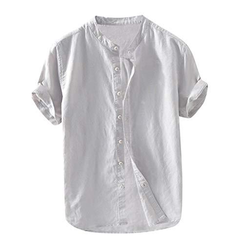 FRAUIT Camicia Lino Uomo Coreana Camicie Lino Manica Corta Maglietta Lino con Bottoni Camicie Colletto Coreano Maniche Corte Magliette Uomini Fantasia T Shirt Strane Estive