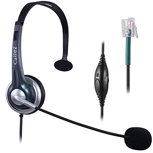 Callez Telephone Headset RJ9, with Noise Canceling Mic Mono, for ShoreTel 230 420 480 Polycom VVX310 VVX311 VVX410 VVX411 Avaya 1408 1416 5410 Plantronics NEC Corded Office Landline Deskphones W300A1