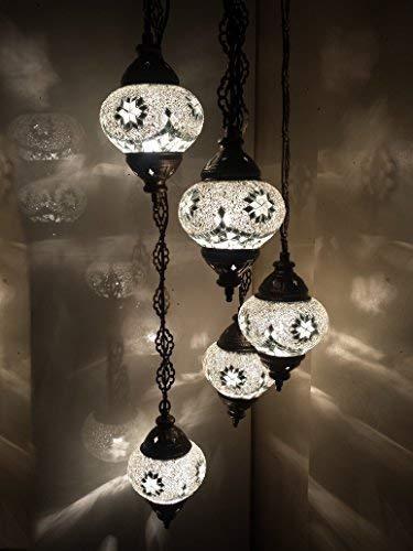 Türkische marokkanischem Mosaik Tiffany-Stil zum Aufhängen Glas Kronleuchter Lampe–W1X 5B Kronleuchter