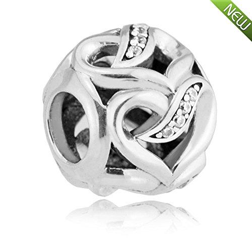 PANDOCCI 2017 Saint Valentin bricolage s'adapte pour les bracelets originaux Pandora Authentique 925 rubans en argent sterling de Love Clear CZ Charms perles bijoux
