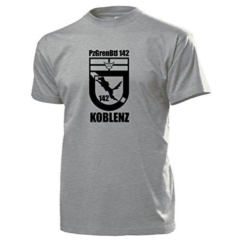 PzGrenBtl 142 Koblenz Panzergrenadierbataillon Wappen Bundeswehr T Shirt #15622, Farbe:Grau, Größe:Herren XL