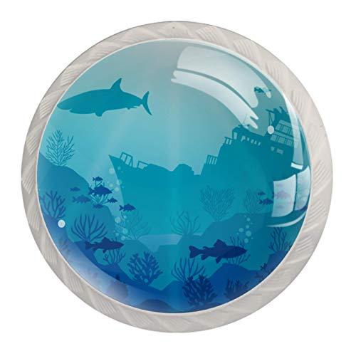 4 pomos de cristal para aparador, pomos de cristal para cajones, tiradores de armario y accesorios para decoración natural de mar