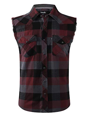 Mens Casual Flannel Plaid snap Shirt Sleeveless with Pocket (burb, XLG)