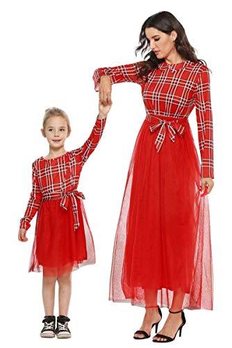 Ropa Madre e Hija Igual Vestidos Mama y Niña Navidad Vintage Tartan Swing Vestido a Cuadros Escocesa Tunica Manga...