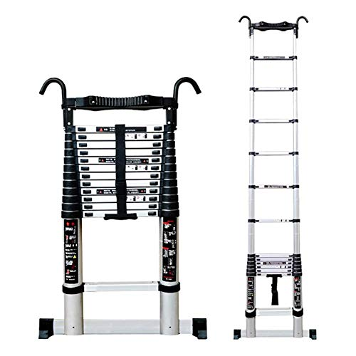 CCLLA Extension Telescoping Ladder with Hooks and Stabiliser Bar, Portable Multi-Purpose Engineering Grade Telescopic Ladder, Load 330lbs (Size : 4.6m/15.1ft)