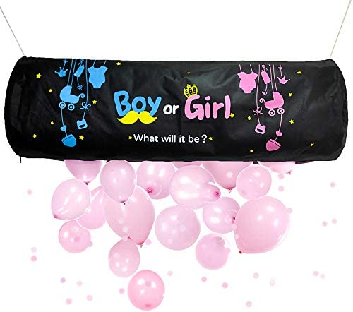 Gender Reveal Balloon Drop Bag Boy or Girl What will it be Baby Sex Reveal Pink And Blue Balloons product image