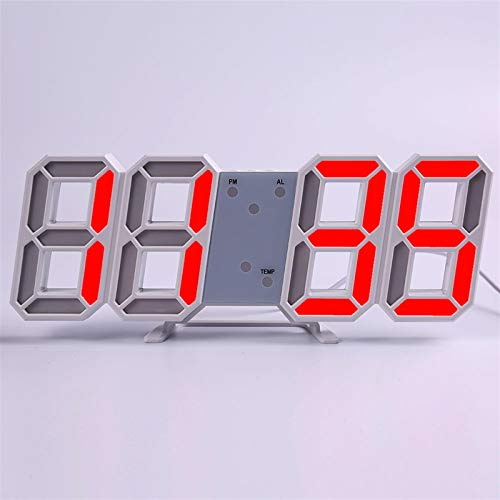 N\A Wanduhr Modern Design Wohnzimmer Dekor Watchuhr 3D LED Digital Table Alarm Nightlight Leuchten Desktop Wanduhr im Freienuhr Wohnkultur (Farbe : Wall Clock h)