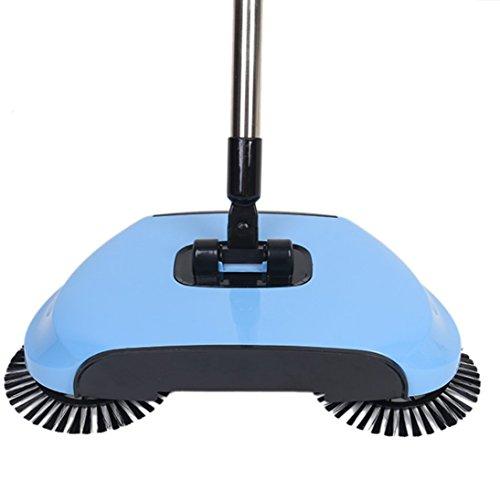 dingsheng 3in 1Haushalts Lazy Automatische Hand Push Sweeper Besen 360Grad drehbar Reinigung Maschine Fegen Werkzeug ohne Strom Kehrschaufel Mülleimer blau