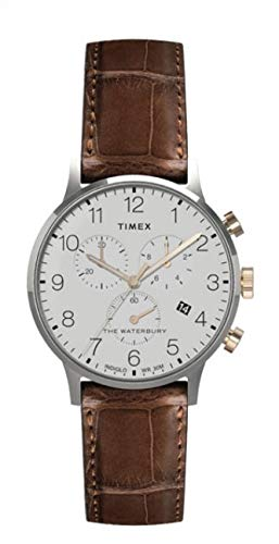 Timex Waterbury Classic - Reloj cronógrafo (40 mm, Piel marrón), Color Blanco