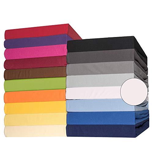 CelinaTex Lucina Spannbettlaken 180x200-200x200 cm Schnee weiß Baumwolle Spannbetttuch Jersey Bettlaken