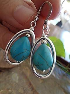 HOWLITA y Drop Ring pendientes con piedra moteado,