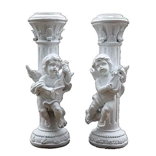 Decorativas Estatuas Figuras de colección Figuras 2 Unids / set Vintage White Angel Mármol Pilar Candelabro Estatua Art Deco Escultura Decoración Del Hogar Para la Sala Estantería Decoración Crea
