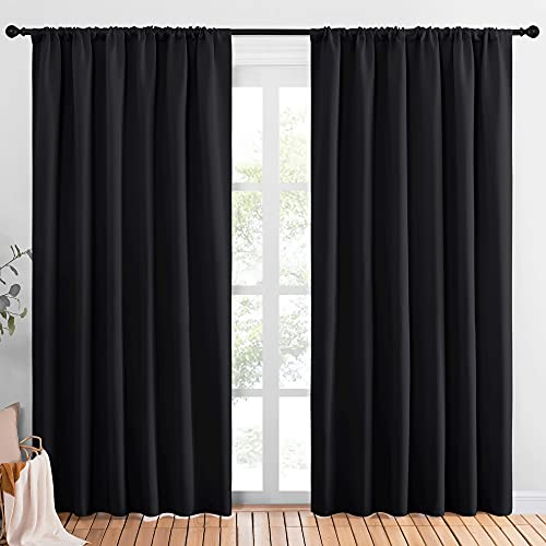 NICETOWN Black Blackout Curtain Blinds - Solid Thermal Insulated Window Treatment Blackout Drapes for Bedroom (2 Panels, 70 inches Wide by 84 inches Long)
