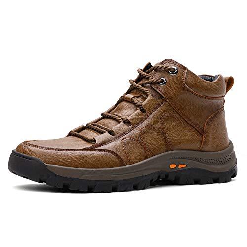 gracosy Chaussure de Ville Hiver Hommes, Boots de Neige avec Fourrure en Laine Moccassins en Cuir PU Bottines Bottes de Randonnée Imperméable Marche Confortable Chaude Marron Clair 43