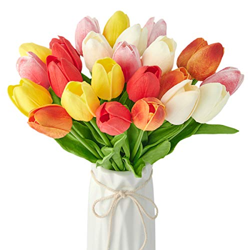 25Pcs Tulips Artificial Flowers Fake Tulip Flowers Faux Tulips Real Touch for Labor Day Decor, Spring Decor Flowers Wedding Bouquet Centerpiece Floral Table Decor 13.2