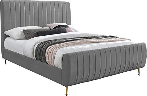 Meridian Furniture Zara Collection Modern   Contemporary Velvet Upholstered Bed with Deep Channel...