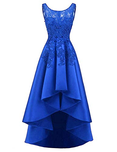 HUINI Elegant Abendkleider Ärmellos Spitzenkleider Vintage Cocktail Partykleider Wadenlang Satin Brautkleider Hochzeitskleider Köngisblau 46